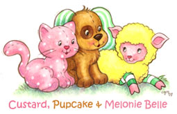 Custard, Pupcake, and Melonie Belle